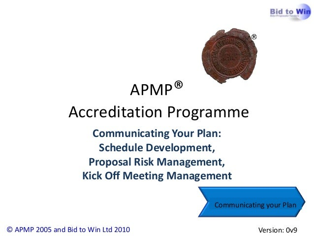 APMP Foundation: Proposal  Schedule Development