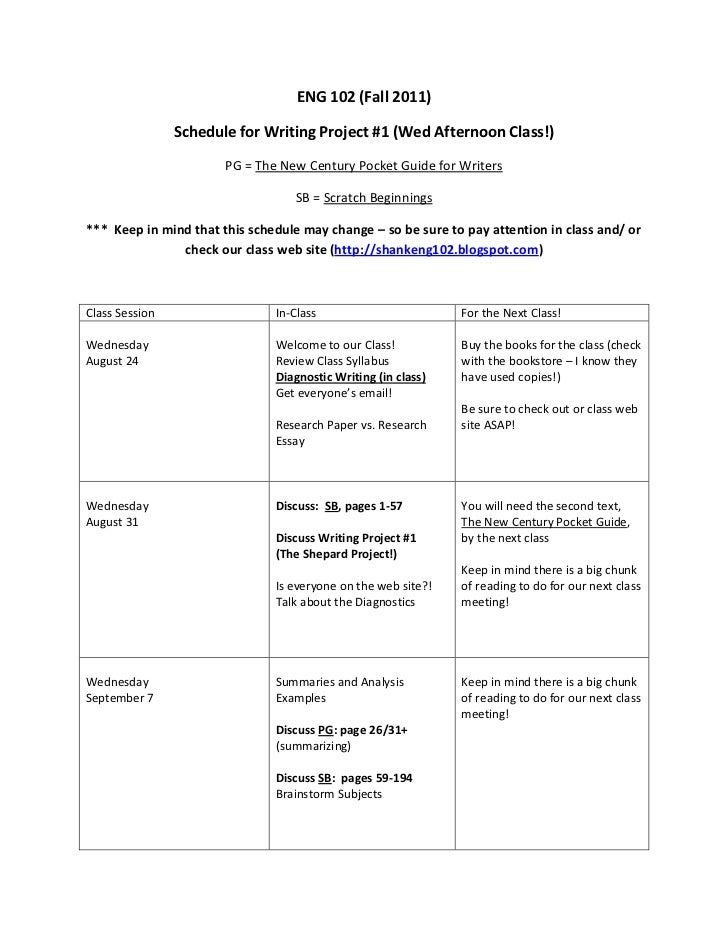 ENG 102 (Fall 2011)<br />Schedule for Writing Project #1 (Wed Afternoon Class!)<br />PG = The New Century Pocket Guide for...