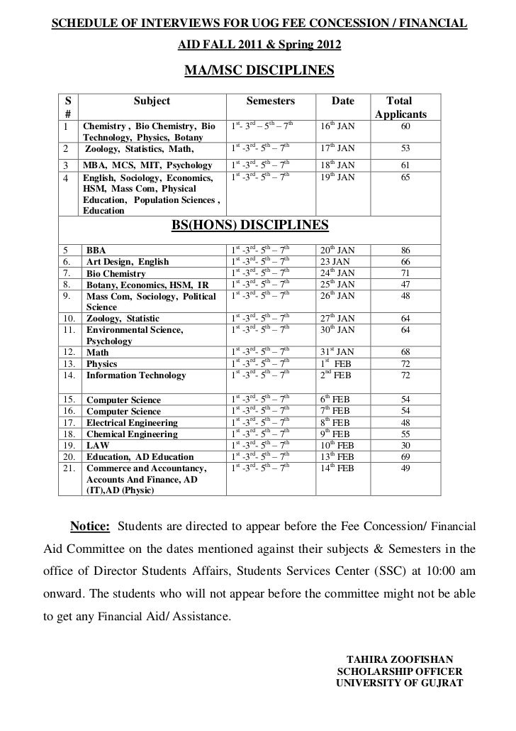Schedule of interviews for fee concession   financial aid 2011 2012