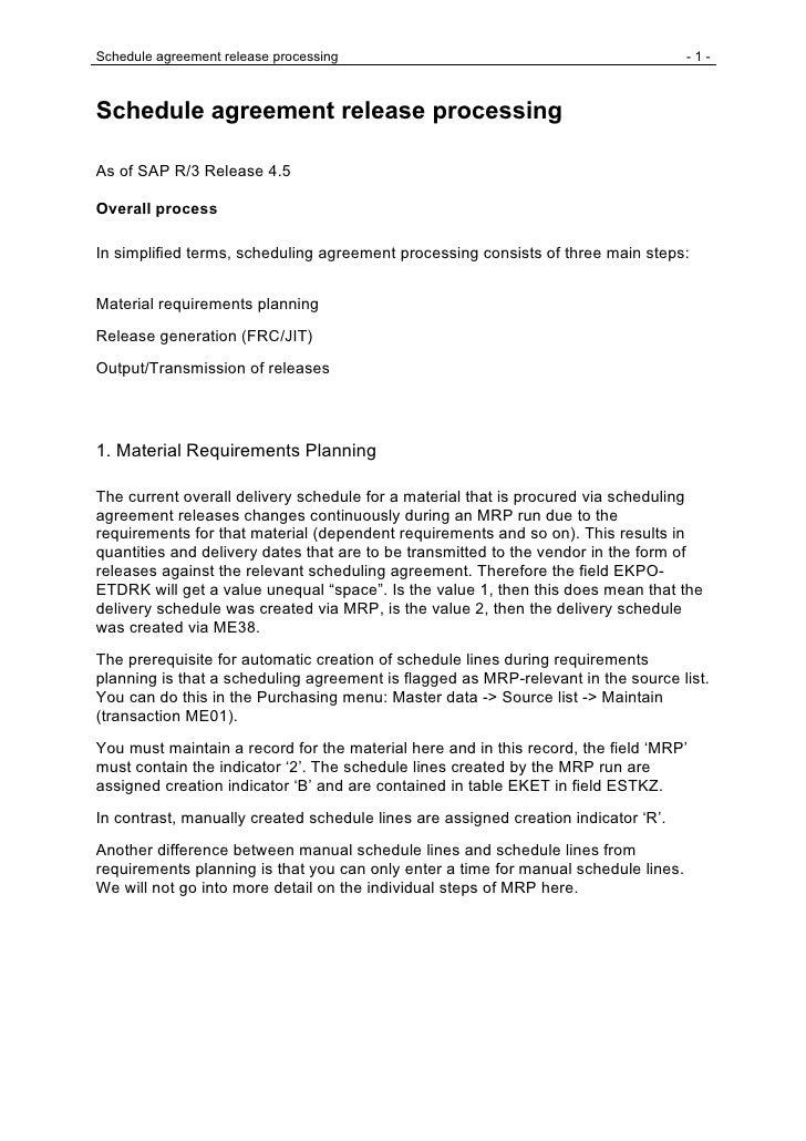 Schedule agreement release processing                                                -1-    Schedule agreement release pro...