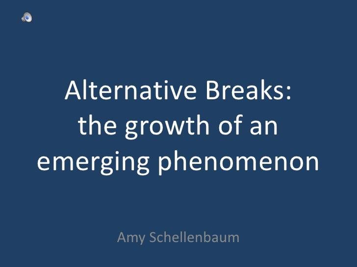 Alternative Breaks: the growth of an emerging phenomenon<br />Amy Schellenbaum<br />