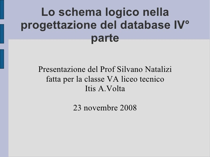 Schema Logico Database