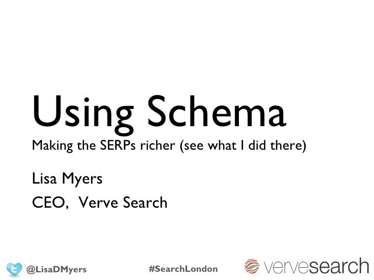 Using SchemaMaking the SERPs richer (see what I did there)Lisa MyersCEO, Verve Search@LisaDMyers        #SearchLondon