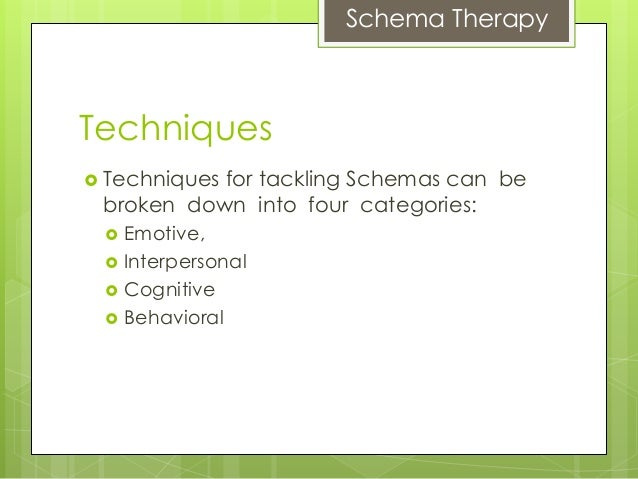 schema therapy Designed to meet the formidable challenges of treating personality disorders and other complex difficulties, schema therapy combines proven cognitive-behavioral techniques with elements of other widely practiced therapies this book—written by the model's developer and two of its leading practitioners—is the first major text for clinicians.