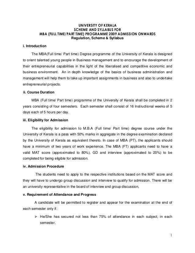 UNIVERSITY OF KERALA                             SCHEME AND SYLLABUS FOR          MBA (FULL TIME/PART TIME) PROGRAMME 2009...