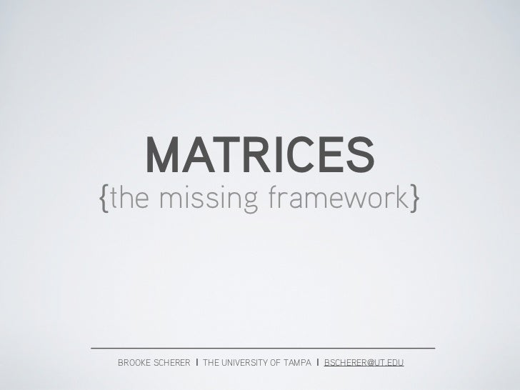 VRA 2012, Visual Culture, Matrices: the missing framework