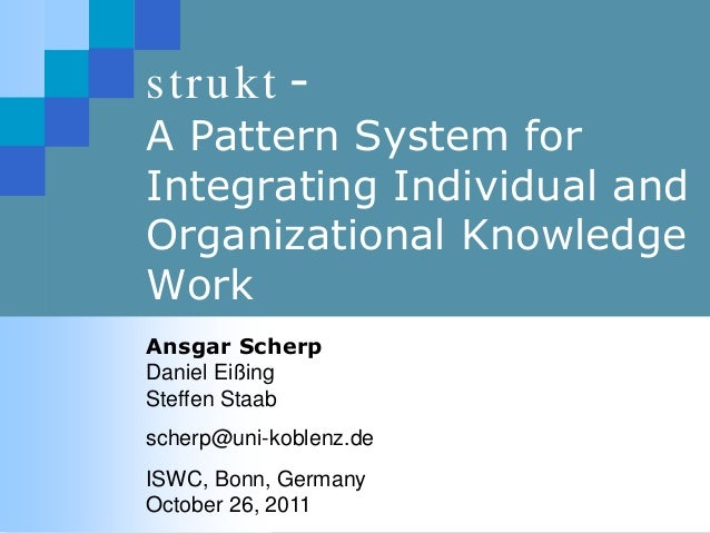 strukt - A Pattern System for Integrating Individual and Organizational Knowledge Work Ansgar Scherp Daniel Eißing Steffen...