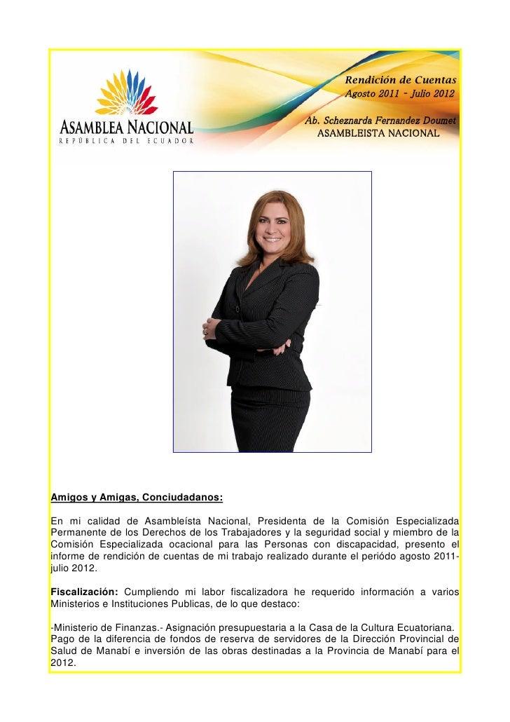 Scheznarda Fernández, rendición de cuentas 2011-2012