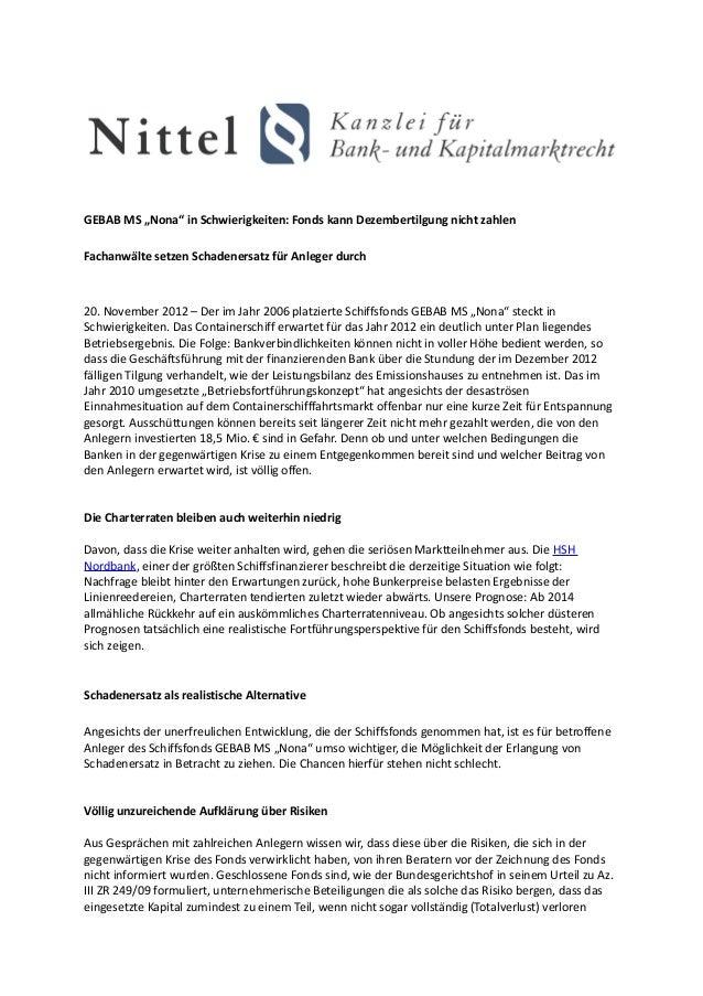 """GEBAB MS """"Nona"""" in Schwierigkeiten: Fonds kann Dezembertilgung nicht zahlenFachanwälte setzen Schadenersatz für Anleger du..."""