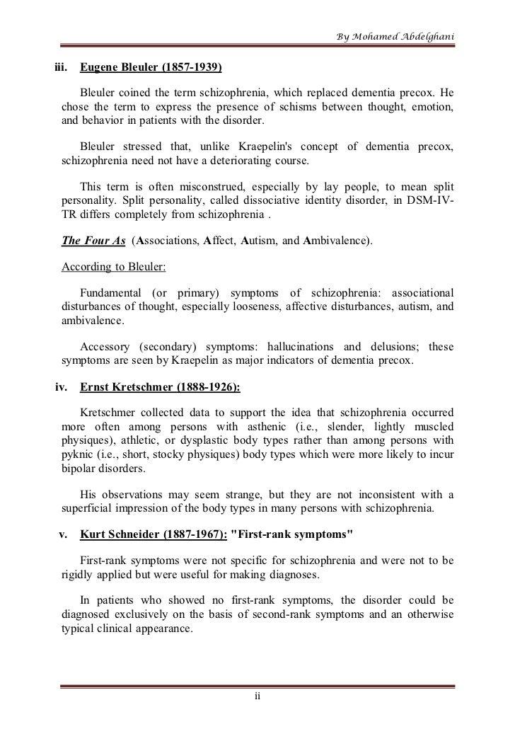 schizophrenia essay essay Schizophrenia essays: over 180,000 schizophrenia essays, schizophrenia term papers, schizophrenia research paper, book reports 184 990 essays, term and research papers available for unlimited access.