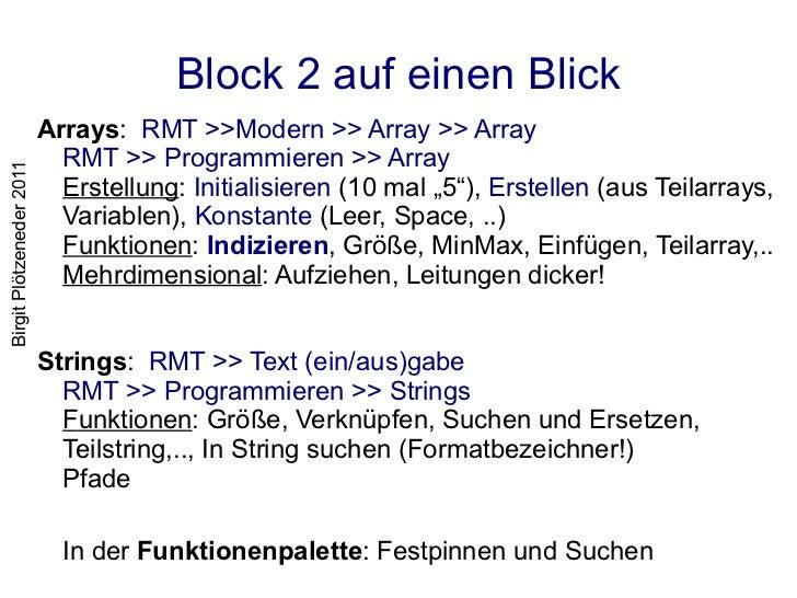 Block 2 auf einen Blick <ul><li>Arrays :  RMT >>Modern >> Array >> Array RMT >> Programmieren >> Array Erstellung :  Initi...