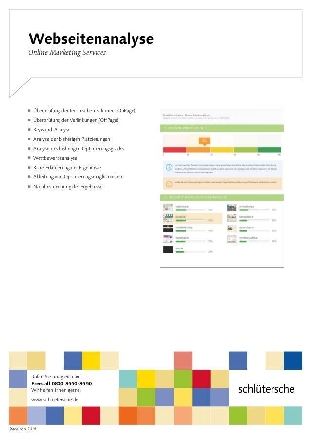Stand: Mai 2014 Webseitenanalyse Online Marketing Services  Überprüfung der technischen Faktoren (OnPage)  Überprüfung der...