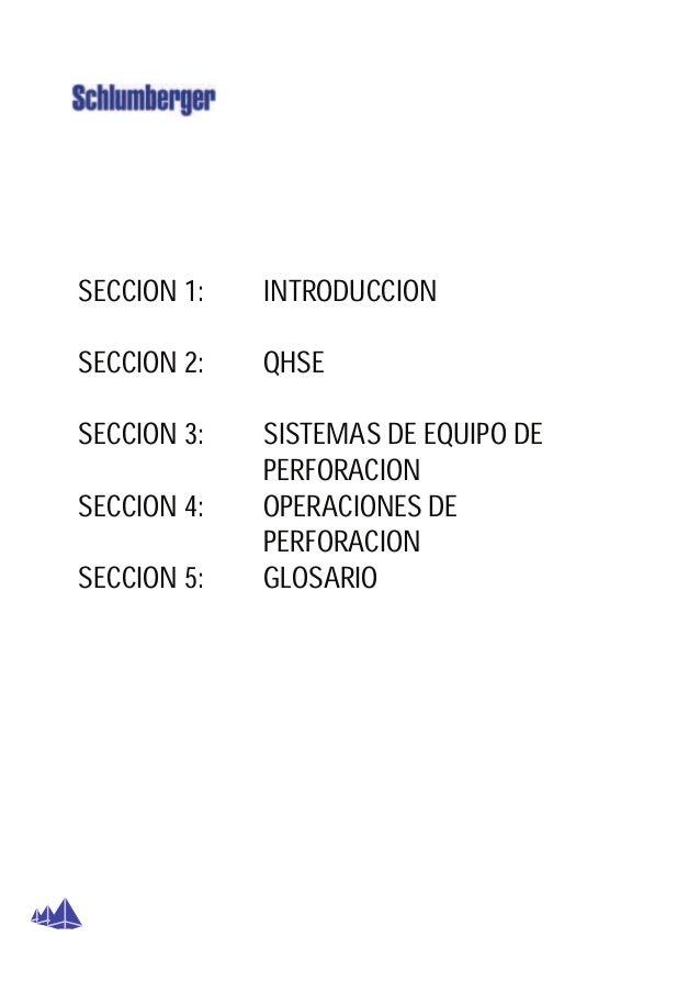 SECCION 1:   INTRODUCCIONSECCION 2:   QHSESECCION 3:   SISTEMAS DE EQUIPO DE             PERFORACIONSECCION 4:   OPERACION...