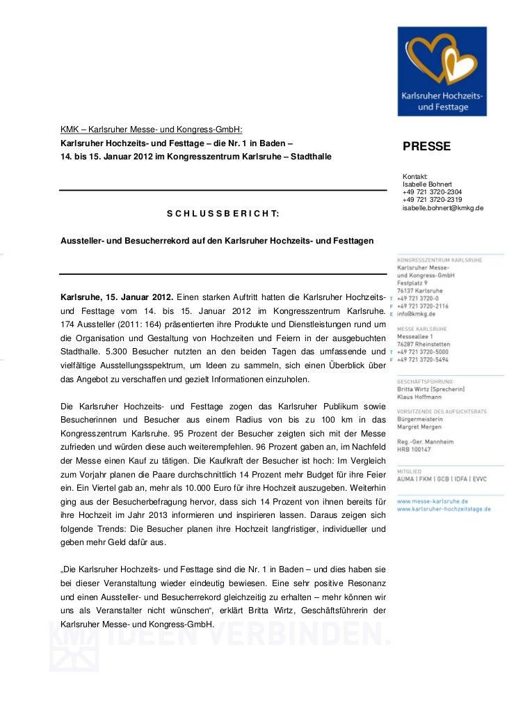KMK – Karlsruher Messe- und Kongress-GmbH:Karlsruher Hochzeits- und Festtage – die Nr. 1 in Baden –                       ...