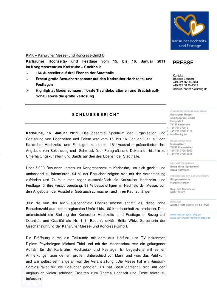 KMK – Karlsruher Messe- und Kongress-GmbH:Karlsruher   Hochzeits-   und    Festtage   vom    15.   bis   16.     Januar   ...