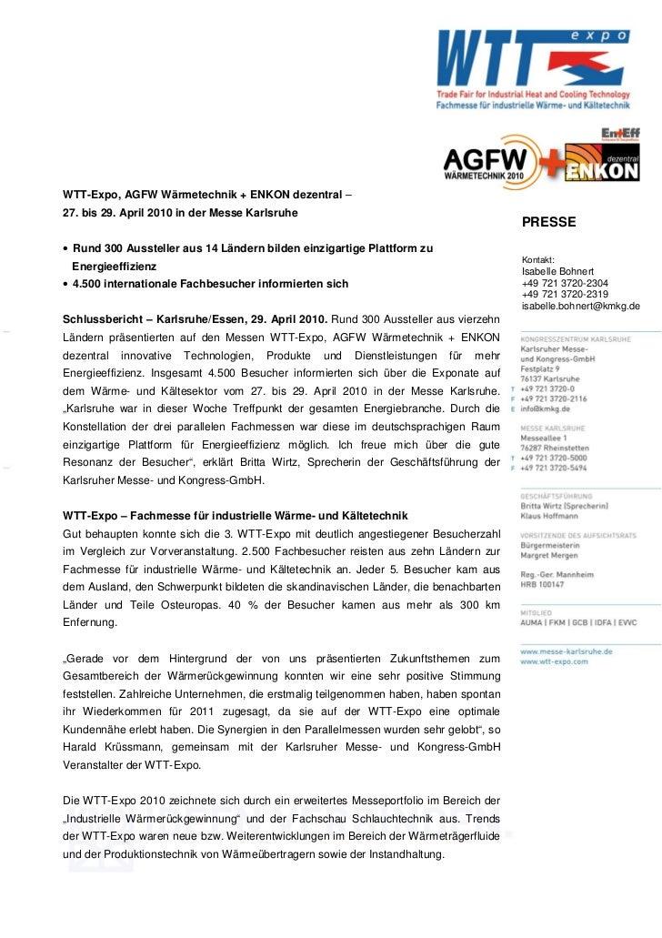 WTT-Expo, AGFW Wärmetechnik + ENKON dezentral –27. bis 29. April 2010 in der Messe Karlsruhe                              ...