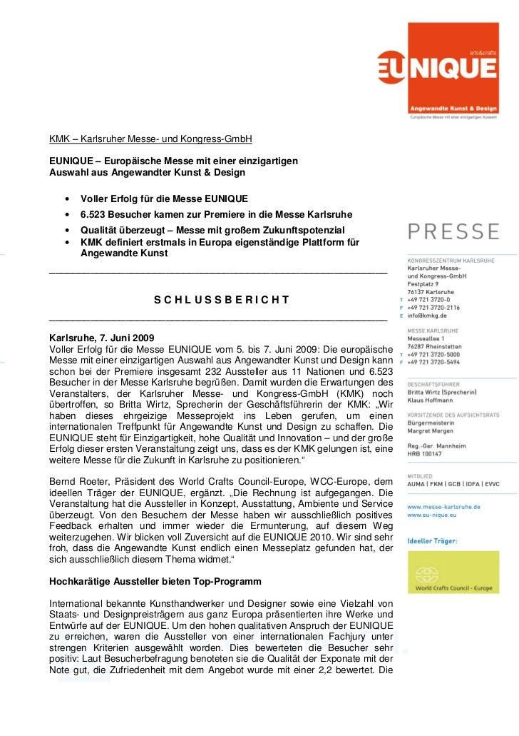 KMK – Karlsruher Messe- und Kongress-GmbHEUNIQUE – Europäische Messe mit einer einzigartigenAuswahl aus Angewandter Kunst ...