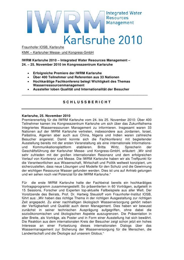 Fraunhofer IOSB, KarlsruheKMK – Karlsruher Messe- und Kongress-GmbHIWRM Karlsruhe 2010 – Integrated Water Resources Manage...