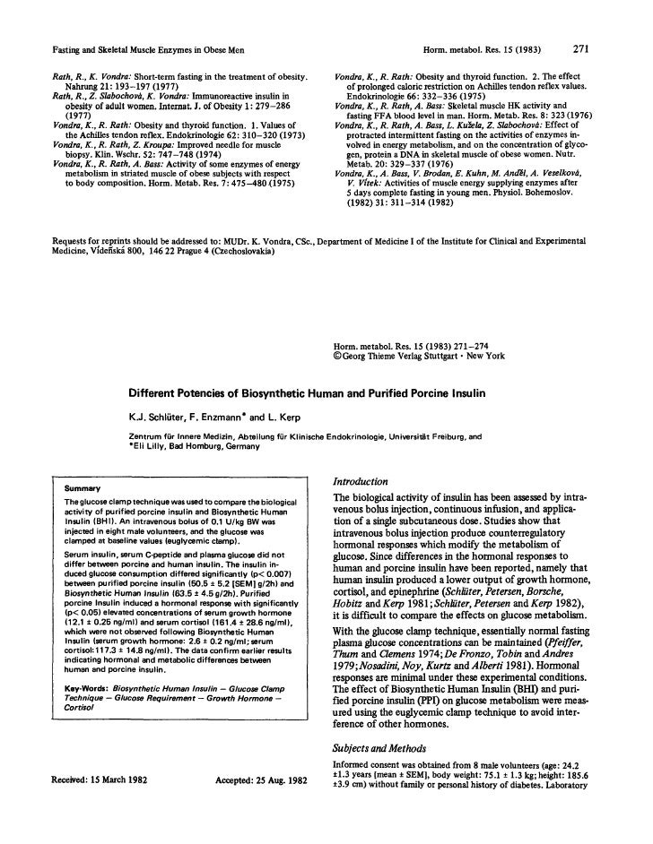 Fasting and Skeletal Muscle Enzymes in Obese Men                                                   Horm. metabol. Res. 15 ...