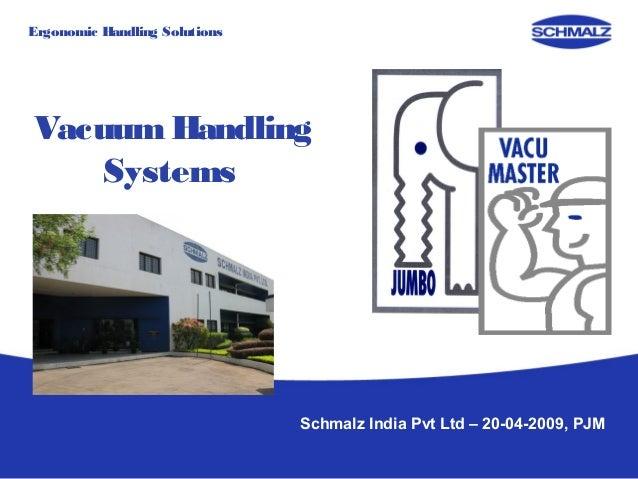 Ergonomic Handling SolutionsVacuum Handling    Systems                               Schmalz India Pvt Ltd – 20-04-2009, PJM