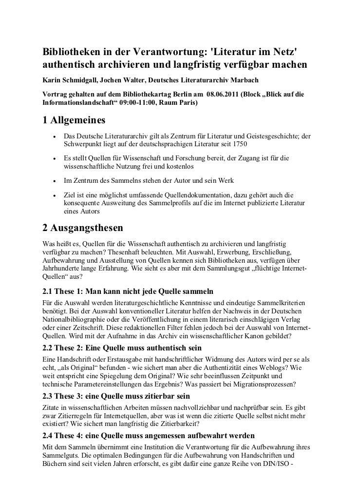 Schmidgall, Karin et al.: Bibliotheken in der Verantwortung: 'Literatur im Netz' authentisch archivieren und langfristig verfügbar machen