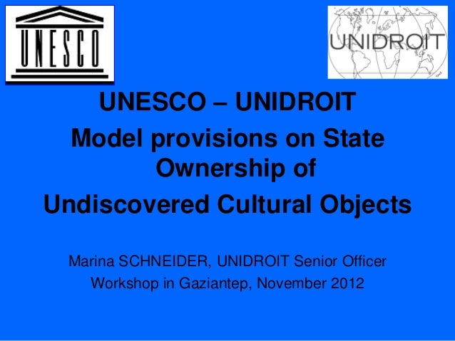 Marina Schneider - Model provisions on State Ownership of Undiscovered Cultural Objects