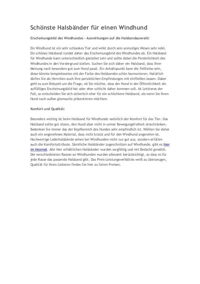 Schönste Halsbänder für einen Windhund Erscheinungsbild des Windhundes - Auswirkungen auf die Halsbandauswahl: Ein Windhun...