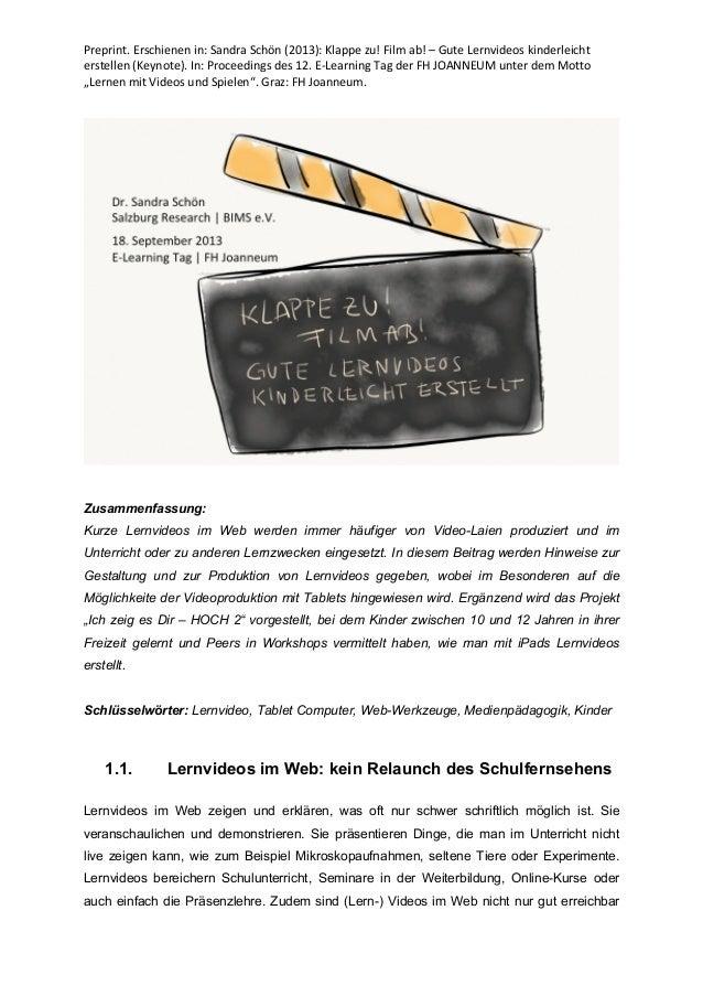 Preprint.  Erschienen  in:  Sandra  Schön  (2013):  Klappe  zu!  Film  ab!  –  Gute  Lernvideos  ...