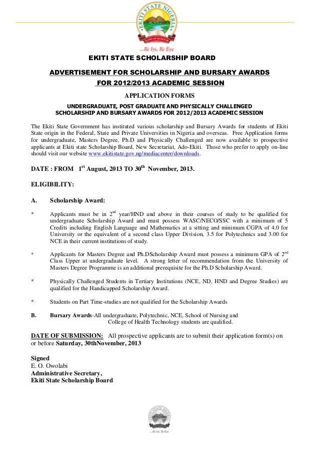 EKITI STATE SCHOLARSHIP BOARD ADVERTISEMENT FOR SCHOLARSHIP AND BURSARY AWARDS FOR 2012/2013 ACADEMIC SESSION APPLICATION ...
