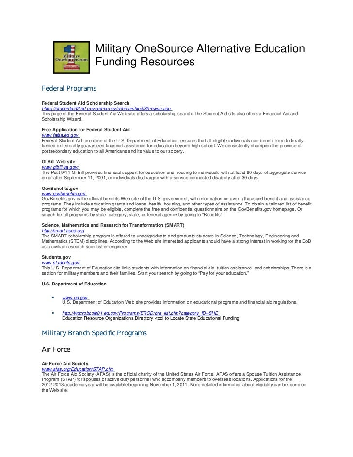 Military OneSource Alternative Education                           Funding ResourcesFederal ProgramsFederal Student Aid Sc...