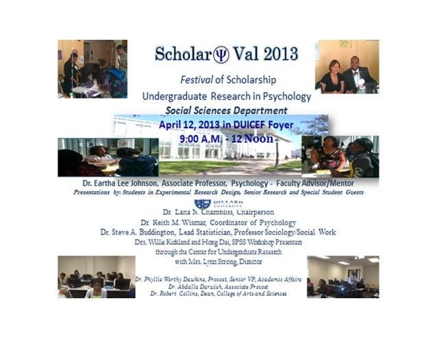 Scholar Val 2013 DU Undergraduate Research in Psychology April 12 2013