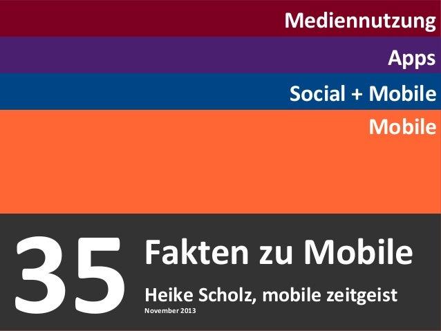 Mediennutzung Apps Social + Mobile Mobile  35 © Heike Scholz, mobile zeitgeist, 2013  Fakten zu Mobile Heike Scholz, mobil...