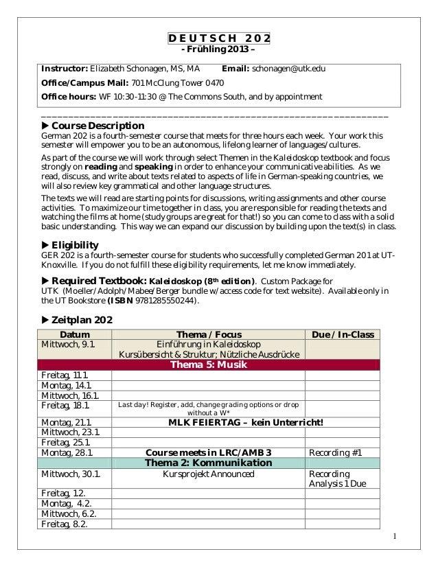 Schonagen 202 syllabus spring 2013