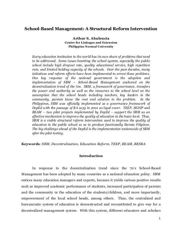 School based management-a_structural_reform_intervention