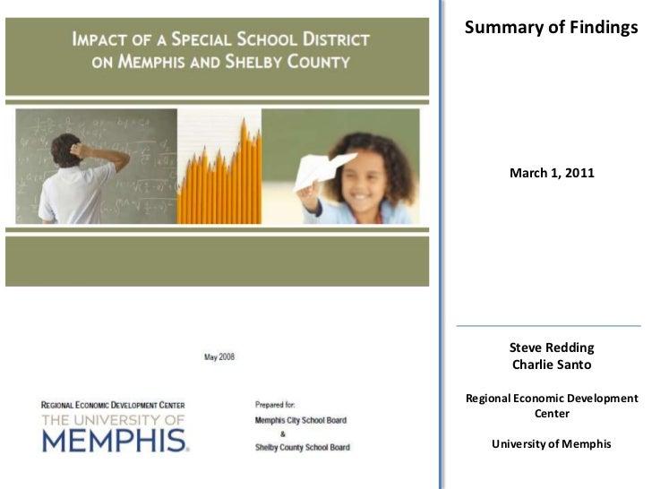 Summary of Findings<br />March 1, 2011<br />Steve Redding<br />Charlie Santo<br />Regional Economic Development<br />Cente...