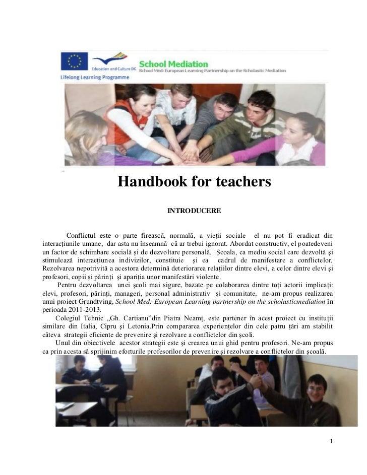Handbook for teachers                                             INTRODUCERE         Conflictul este o parte firească, no...