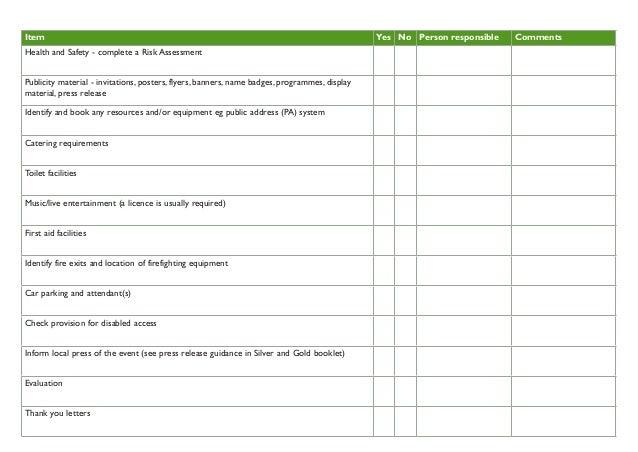 Event checklist for school gardens for Gardening risk assessment
