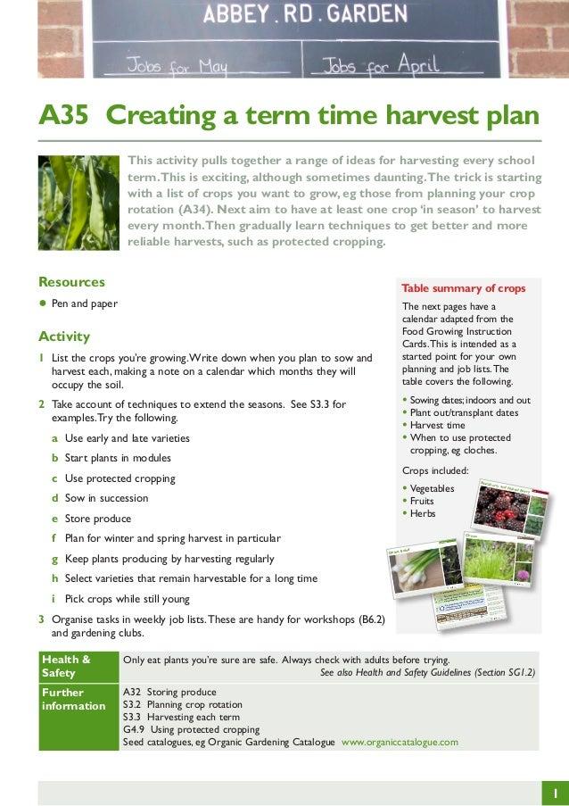 Creating a Term Time Harvest Plan ~ Teacher Guide, Organic Gardening