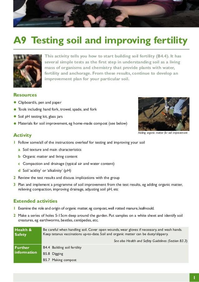 Testing Soil and Improving Fertility ~ Teacher Guide, Organic Gardening