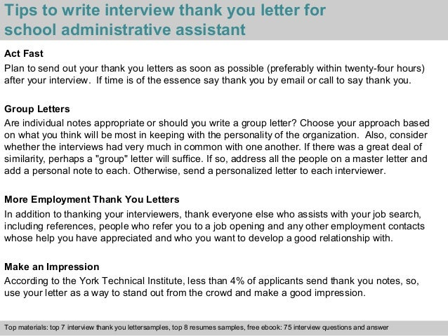 School Administrative Assistant. Thank You Letters After An Interview ...