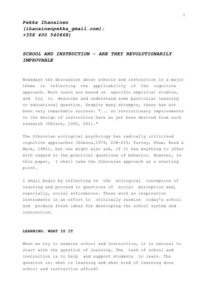 Schoolandinstruction Aretheyrevolutionarilyimprovable 091201141313 Phpapp01