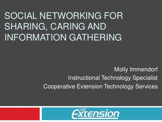 SOCIAL NETWORKING FOR SHARING, CARING AND INFORMATION GATHERING Molly Immendorf Instructional Technology Specialist Cooper...