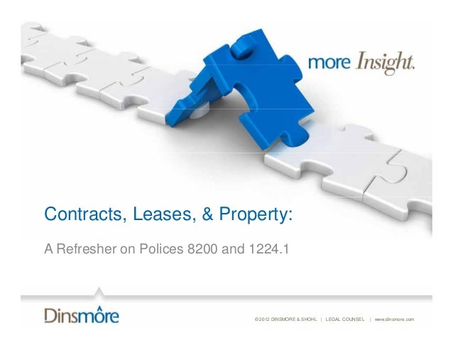 Contracts, Leases, & Property:A Refresher on Polices 8200 and 1224.1                                © 2012 DINSMORE & SHOH...