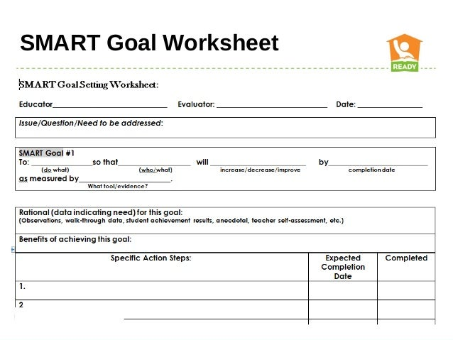 Smart Goals Worksheet School counselor professional growth plan and ...