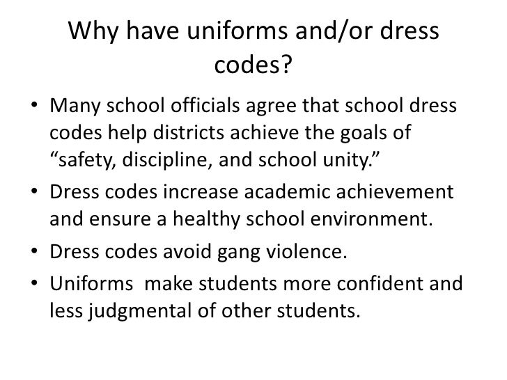 essays on school dress code School dress code essay the school district of long beach, california dress codes stated that all students had to wear blue or black bottoms, and a white shirt.