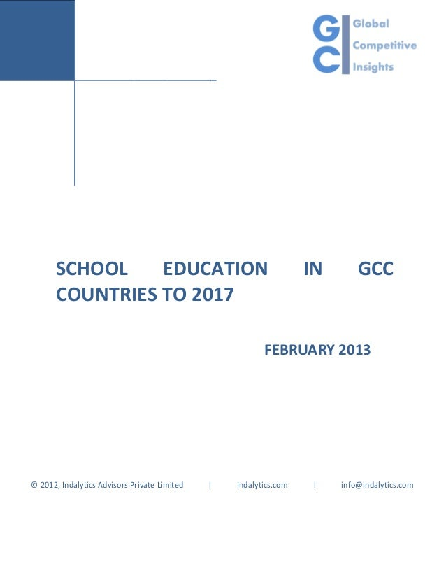 Indalytics - School education in gcc countries to 2017 — report brief