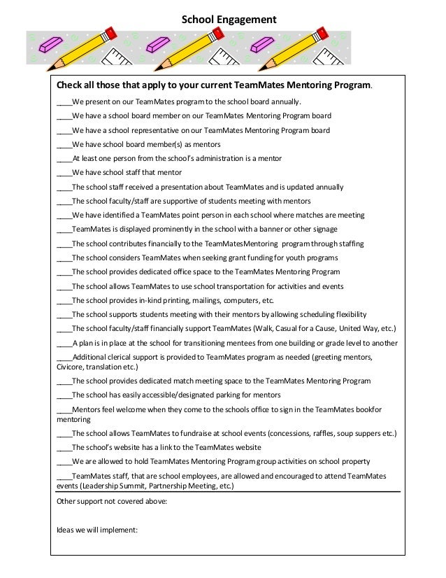 Check all those that apply to your current TeamMates Mentoring Program. ____We present on our TeamMates program to the sch...