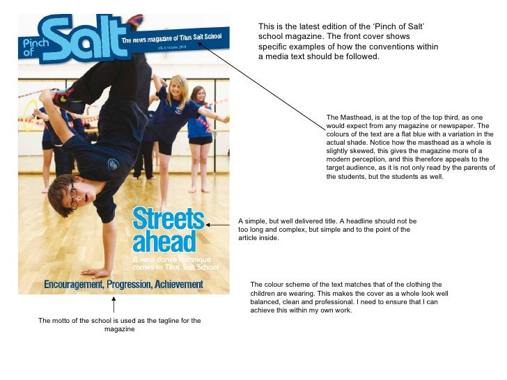 This is the latest edition of the 'Pinch of Salt' school magazine. The front cover shows specific examples of how the conv...