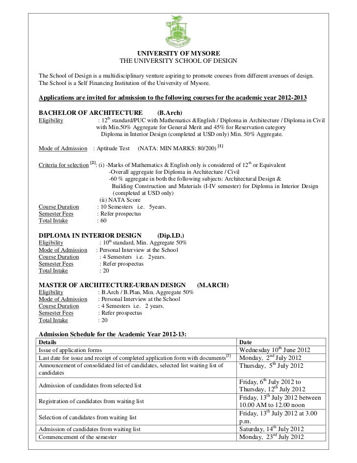 School of design university of mysore notification-2012-13
