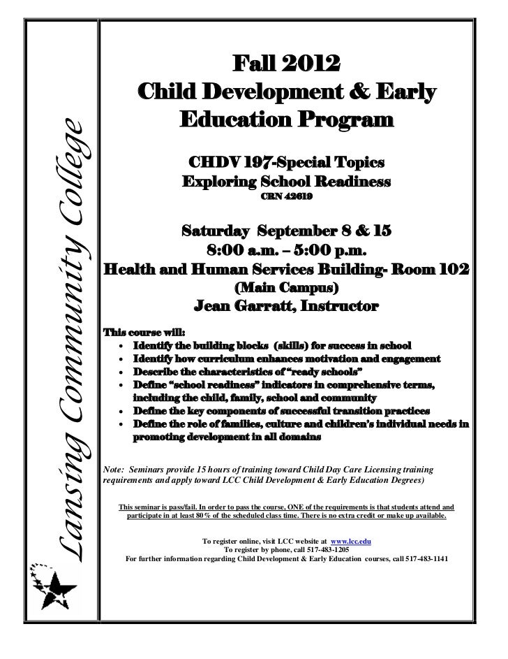 Fall 2012                                    Child Development & Early                                       Education Pro...